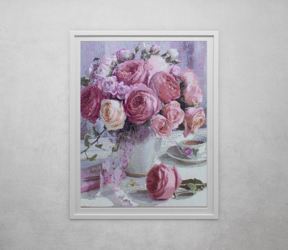 Flower Cross Stitch in white frame
