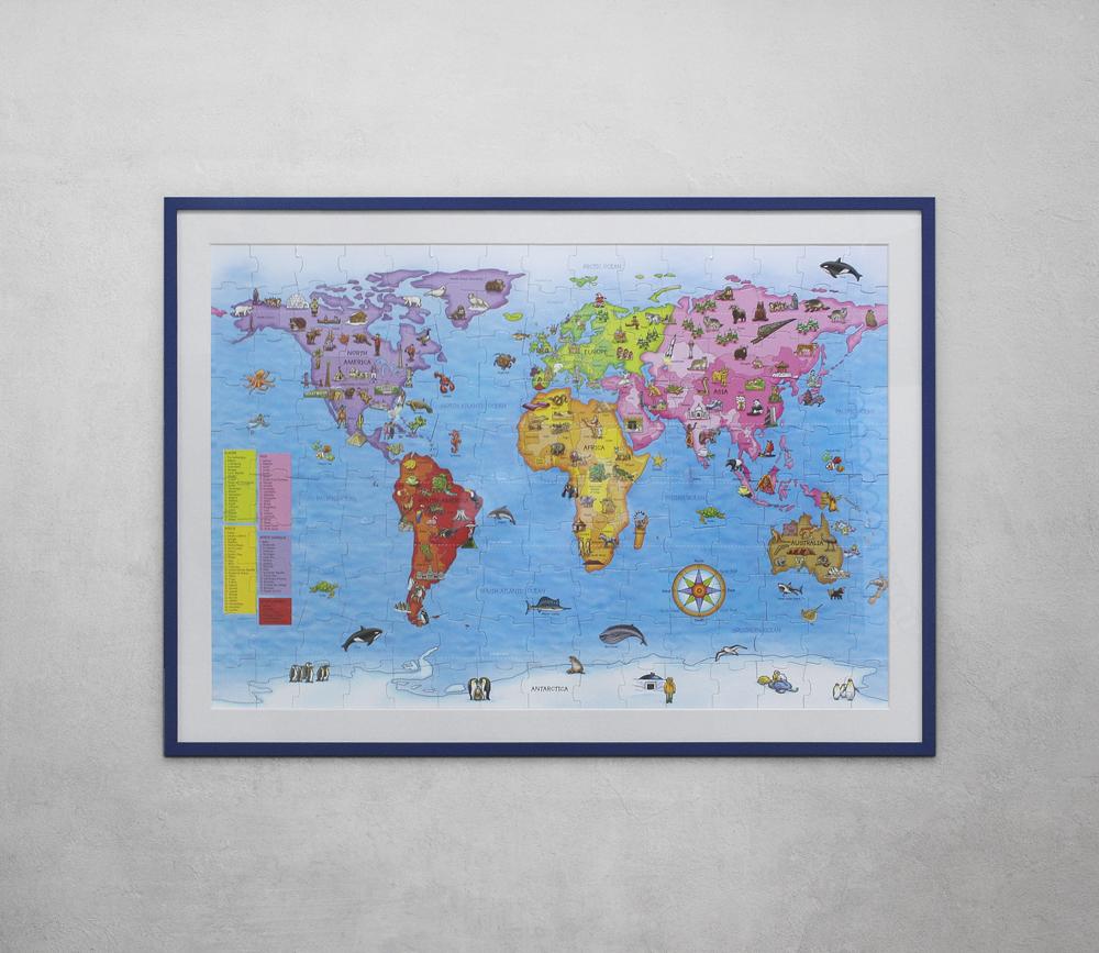 World map in dark blue frame