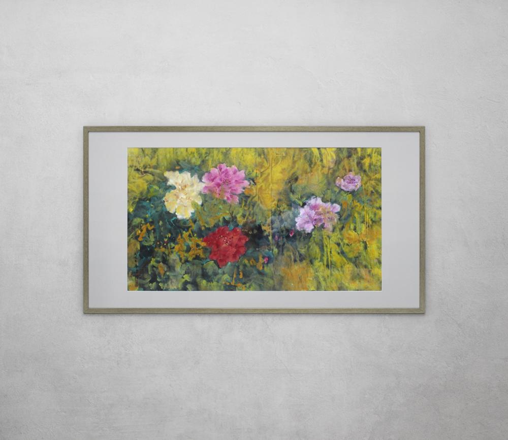 Flower Painting in Golden Frame